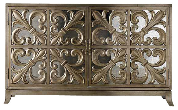 Fleur-de-Lis Mirrored Credenza contemporary-buffets-and-sideboards