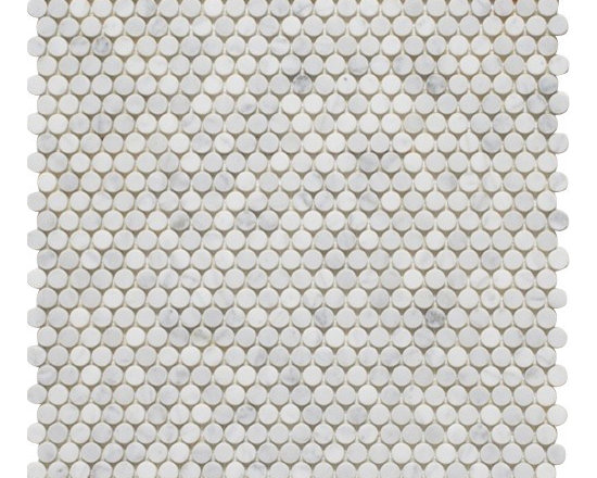 """Mission Stone Tile - LotsaDots - 3/8"""" Marble Penny Round Tile, Bianco Carrara Marble - Sold per Square Foot"""