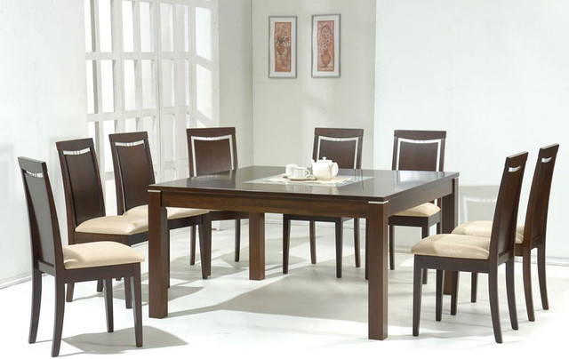 Glass Top Microfiber Seats Modern Dining Contemporary Dining Tables