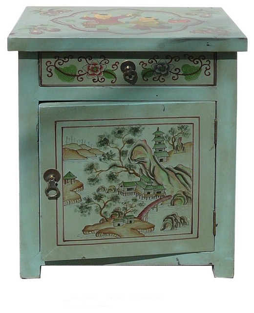 Pastel Side Table ~ Oriental pastel blue color kid scenery side table