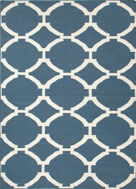 Flat Weave Geometric Pattern Blue Wool Handmade Rug - MR19, 9x12 contemporary-area-rugs