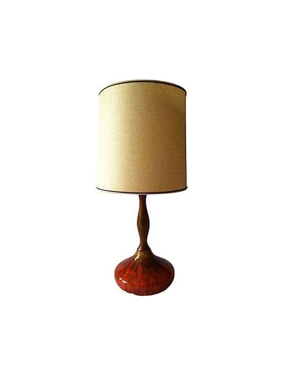 Mod Drip Glaze Lamp - Vintage mod drip glaze lamp, walnut stem and ceramic drip glaze lava finish.