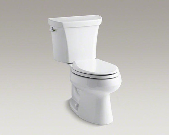 KOHLER White Wellworth® Two-piece Elongated Dual-flush Toilet - This Wellworth dual-flush toilet combines water savings with powerful flush performance. An innovative two-tone flush lever offers the choice of 1.1 or 1.6 gallons per flush; the dual-flush lever is located on the side of the tank like a traditional toilet, leaving the top free for storage. The high-efficiency 1.1-gallon flush reduces water use by more than 30 percent over the 1.6-gallon mode, which adds up to potential water savings of more than 4,000 gallons per toilet, per year.