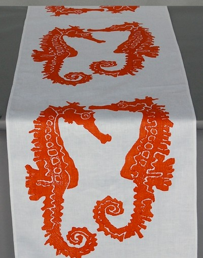 Dermond Peterson Seahorse Table Runner Orange Tropical