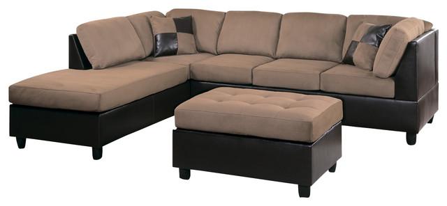 9909br homelegance comfort living 2 piece two tone living for Homelegance 2 piece sectional sofa