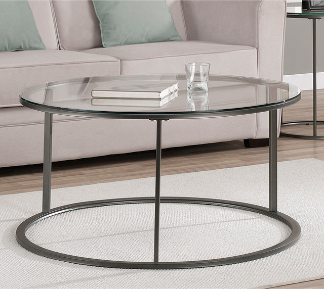 Modern Designer Large Round Coffee Table Glass Top Stainless Steel: Round Glass Top Metal Coffee Table