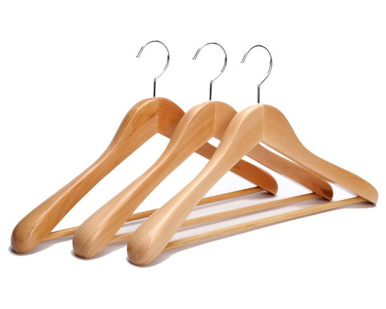 J.S. Hanger - J.S. Hanger®Extra Wide Rounded Shoulders Wood Coat Hanger, Natural,3-pack - Feature: