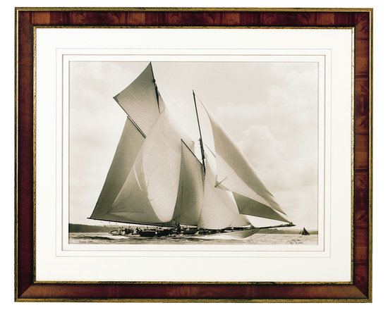 Ethan Allen - Susanne 1910 - Nautical and historical. We've placed this sepia-toned reproduction of a Frank Beken photograph in an American bass wood frame with antiqued gold leaf accents. A double mat in white cotton sailcloth gives this turn-of-the-century yacht image a luxurious look.
