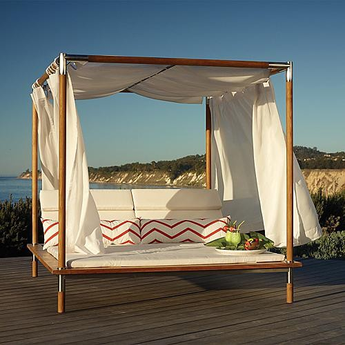 Antigua Canopied Outdoor Daybed with Cushions - Frontgate, Patio Furniture contemporary-outdoor-sofas