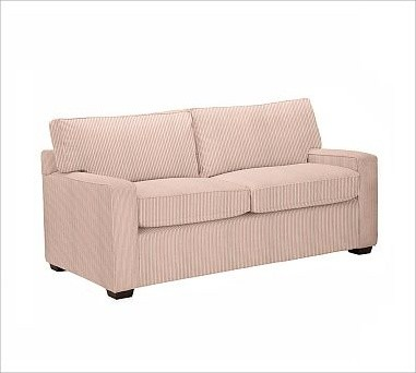 PB Square Upholstered Love Seat, Polyester Wrap Cushions, Ticking Stripe Cardina traditional-chairs