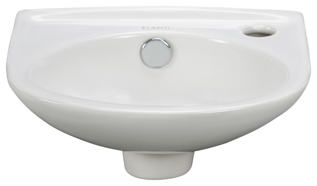 Porcelain Wall-Mounted Oval Compact Sink modern-bathroom-sinks