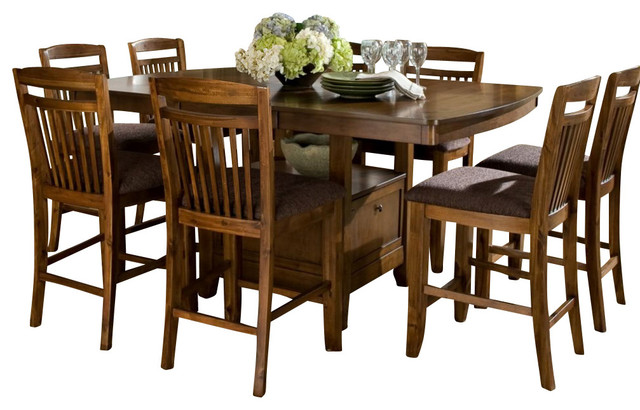 piece counter dining room set with storage base traditional dining