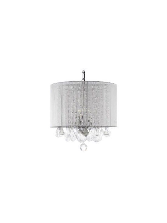 """The Gallery - Crystal chandelier with Large White Shade - 100% crystal chandelier. A Great European Tradition. Nothing is quite as elegant as the fine crystal chandeliers that gave sparkle to brilliant evenings at palaces and manor houses across Europe. This beautiful chandelier has 3 Lights and is decorated and draped with 100% crystal that captures and reflects the light of the candle bulbs. This wonderful chandelier also comes with the large shade as shown. The timeless elegance of this chandelier is sure to lend a special atmosphere anywhere its placed! Assembly required, shades included. Size: H. 15"""" x W. 15"""", 3 Lights. This item comes with a swag plug-in kit, 14 feet of hanging chain and wire."""