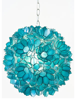 Worlds Away Venus Pendant Capiz Shell Floral, Turquoise eclectic-pendant-lighting