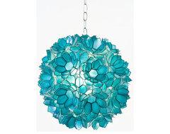 Worlds Away Venus Pendant Capiz Shell Floral, Turquoise eclectic-pendant-lighting