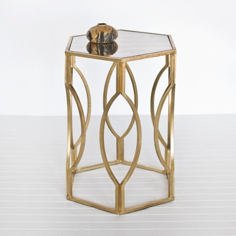 Hexagon Side Table in Gold Leaf contemporary side tables and accent tables