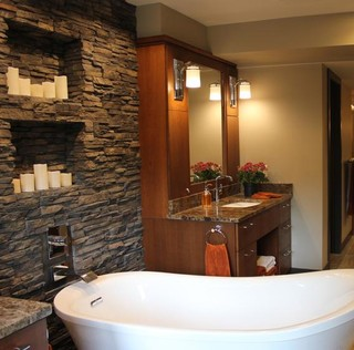 Stackedcandle wall contemporary bathroom other metro for Midwest kitchen and bath