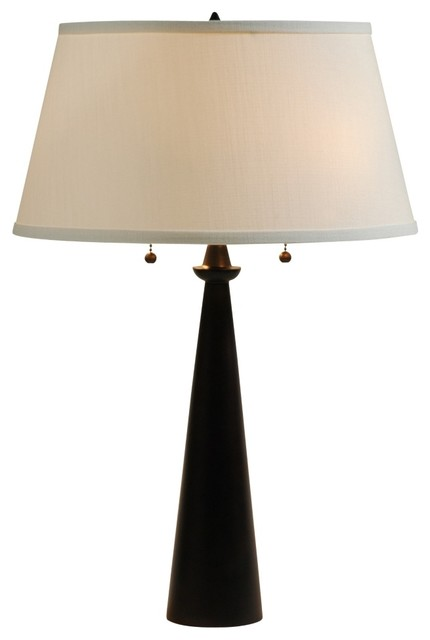 Contemporary Lights Up! Dasan Bronze Table Lamp Ivory Ipanema Shade transitional-table-lamps
