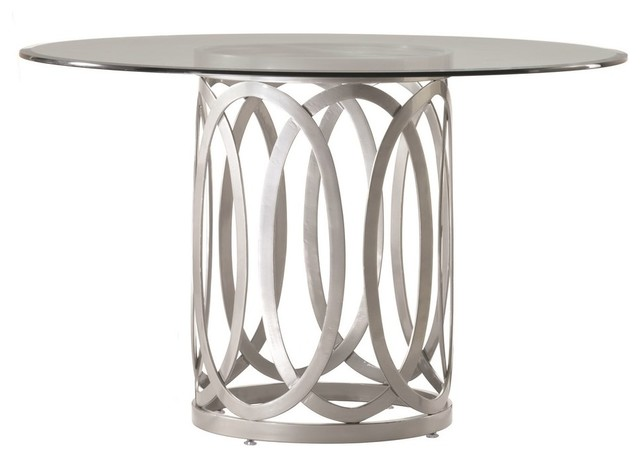Allan Copley Designs Alchemy 48 Inch Round Dinig Table w/ Glass Top in Silver modern-dining-tables