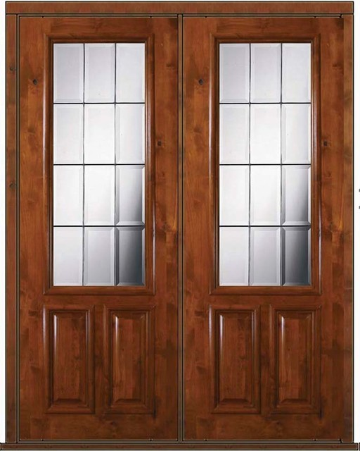 Pre hung french double door 96 wood alder french 2 3 lite for Double hung exterior french doors