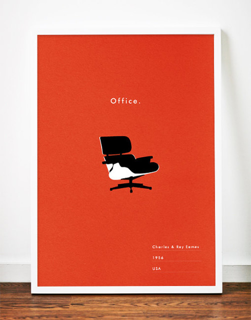 eames office poster midcentury modern art by weavers of