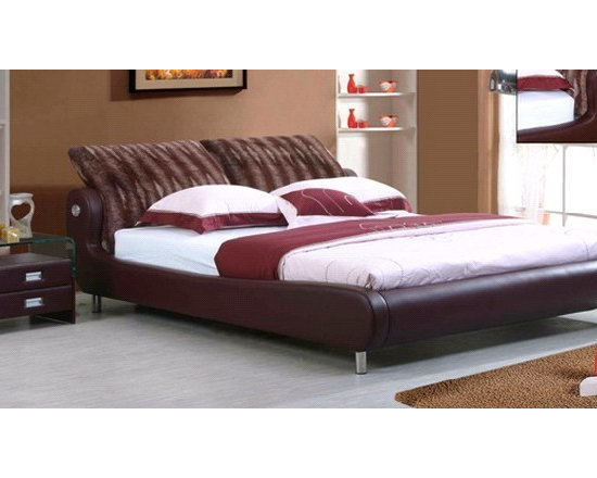 Dormire Bed Frame - With luxurious microfiber headboard and beautiful and resilient synthetic leather accented by chromed metal legs, the Dormire Modern Bed Frame is the perfect centerpiece for any modern bedroom decor.