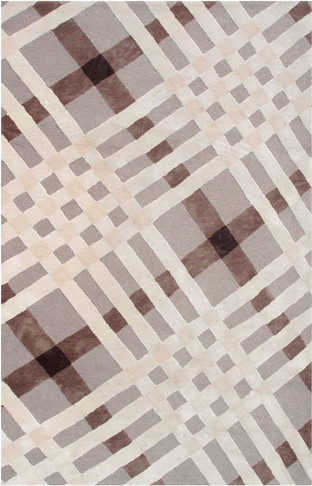 Brit Plaid Brown Ivory Beige Indoor/Outdoor Tufted Rug modern-rugs