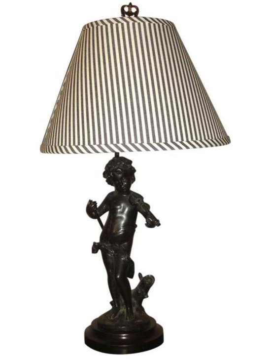 Antique Spelter Custom Lamp - Antique spelter statue of a boy and his violin made into a Custom Lamp. I used Black and White Ticking stripe fabric and had it made into a custom shade. Finial top. All of our lamps are made from Antique pieces we find in our travels.