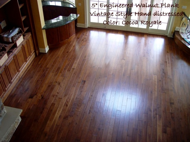 Hand scraped prefinished custom walnut plank traditional for Flooring sacramento