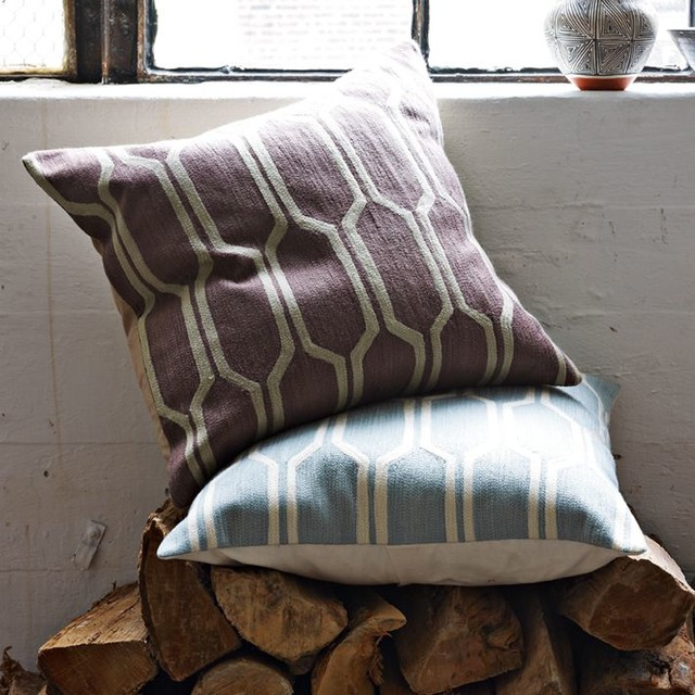 Honeycomb Crewel Pillow Cover contemporary-pillows