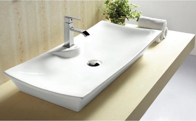 Modern Curved Rectangular Vessel Bathroom Sink By