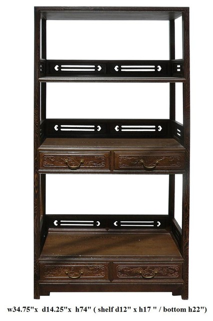 Chinese Chicken Feather Wood Bookshelf Display Curio Cabinet