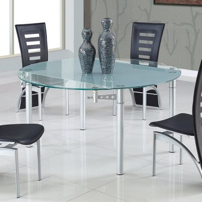 Global Furniture Frosted Glass Drop Leaf Dining Table modern-dining-tables