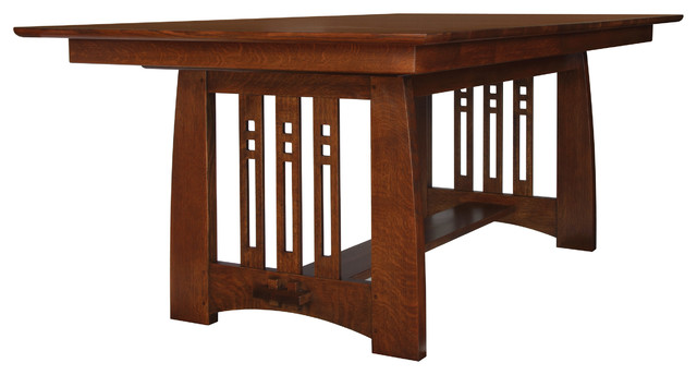 Stickley self storing dining table 89 91 598 for Mission style dining table