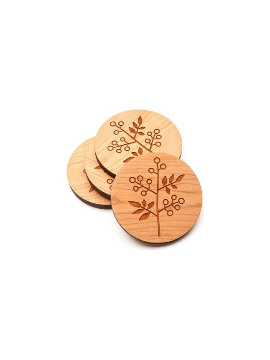 Beehive Berry Coaster Set - The set of four Berry Coaster's by Beehive are made from Cherry wood and engraved with an adorable berry and leaf motif.