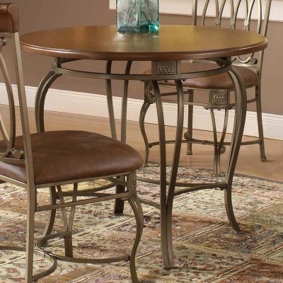 Montello 36 Inch Round Dining Table-Steel & Faux-Leather modern-dining-tables