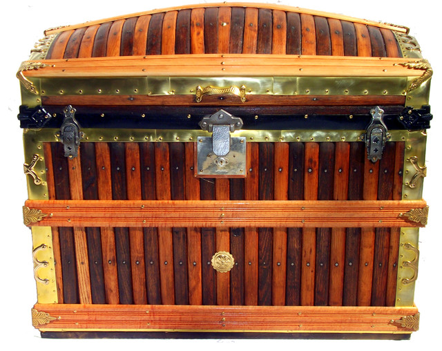 Oak Slat Trunk traditional-decorative-trunks