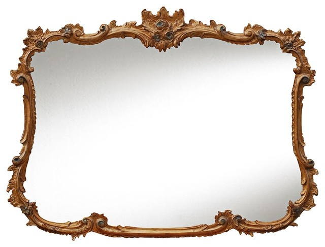 Buffet 44 wide baroque gold leaf rectangular wall mirror for Plastic baroque mirror