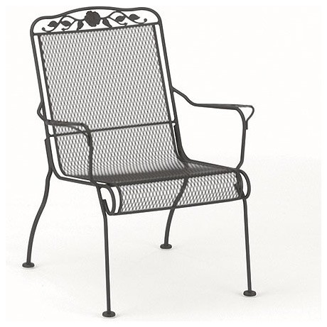 Windflower mesh stackable high back lounge chair modern for Mesh patio chairs