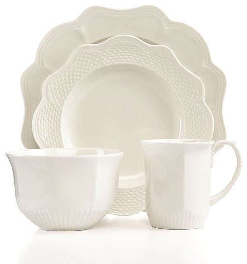 Martha Stewart Collection Belle Mead 4-Piece Place Setting, White - Contemporary - Dinnerware ...