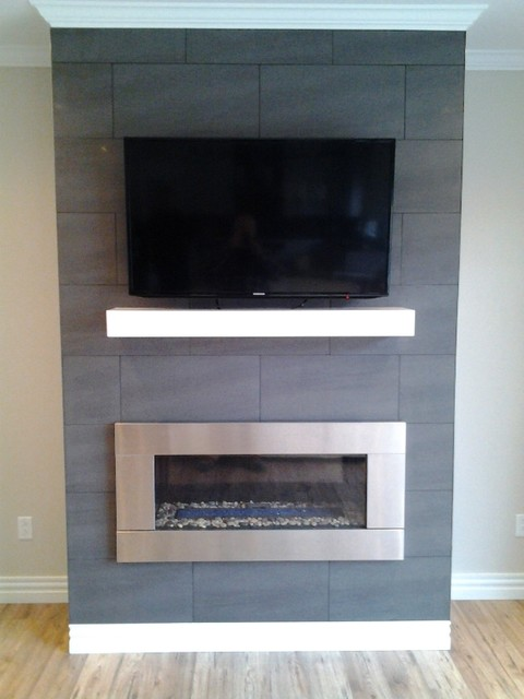 Contempory Mantel With Stainless Steel Fireplace Insert