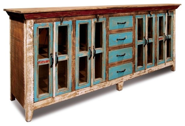 Distressed reclaimed solid wood sideboard curio cabinet glass doors