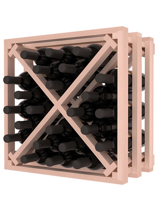 Lattice Stacking X Wine Cube in Redwood with White Wash Stain - Designed to stack one on top of the other for space-saving wine storage our stacking cubes are ideal for an expanding collection. Use as a stand alone rack in your kitchen or living space or pair with the 16-Bottle Cubicle Wine Rack and/or the Stemware Rack Cube for flexible storage.