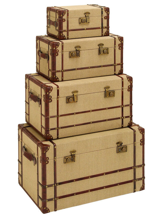 Benzara - Old Look Burlap Travel Steamer Trunk Set - For anyone wanting to travel the world, their journey should never begin without a set of steamer trunks to store all their belongings, as well as their newly found treasures. Beautifully covered with soft antique style burlap fabric. When not in use each trunk makes for stunning decor on the floor of the spare bedroom.