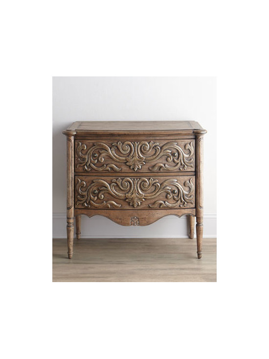 """Horchow - Haylie Chest - Beautiful carved drawer fronts, a scalloped apron, tapered legs, and an antiqued finish with distressing give this chest vintage-style charm. Handcrafted of hardwood solids, laminated lumber, veneers, and resin. Two drawers. 38""""W x 20""""D x 35""""T. Impo..."""