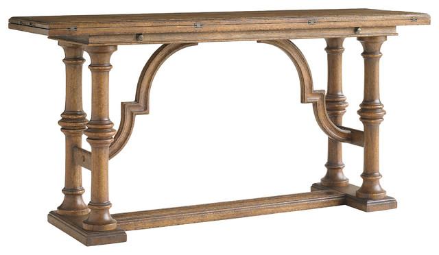 La Palma Living Room Flip Top Console - Caramel Finish traditional-console-tables