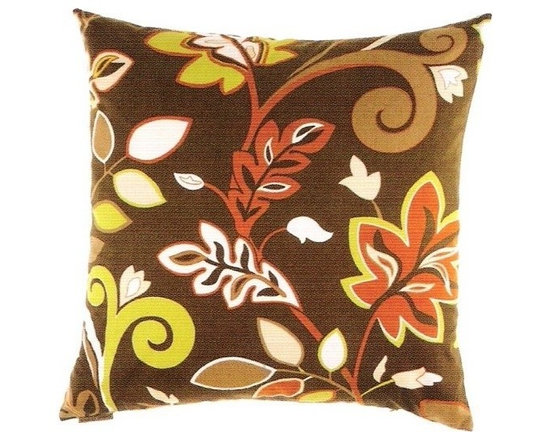 """Canaan - 24"""" x 24"""" Charisma Retro Style Leaf Flower Pattern Throw Pillow - Charisma retro style leaf flower pattern throw pillow with a feather/down insert and zippered removable cover. These pillows feature a zippered removable 24"""" x 24"""" cover with a feather/down insert. Measures 24"""" x 24"""". These are custom made in the U.S.A and take 4-6 weeks lead time for production."""
