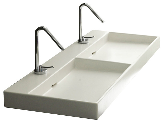 ADA Compliant Double Ceramic Wall Mounted / Vessel Bathroom Sink ...