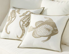 Sea-Life Embroidered Outdoor Pillows tropical pillows