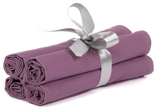 Solid Purple Table Linen Napkins ( Set of 4 ) contemporary-napkins